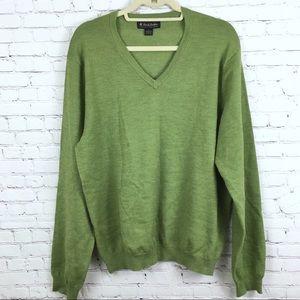 Brooks Brothers Sweater V Neck Italian Merino Sz L